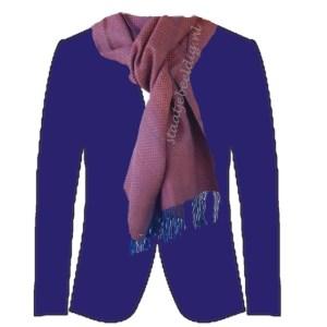 donkerrood met blauw pak