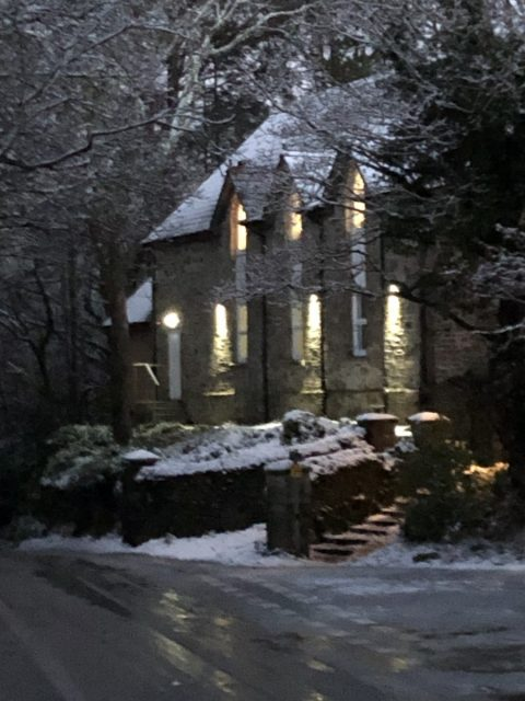 The Chapel Picture Framing in the Snow