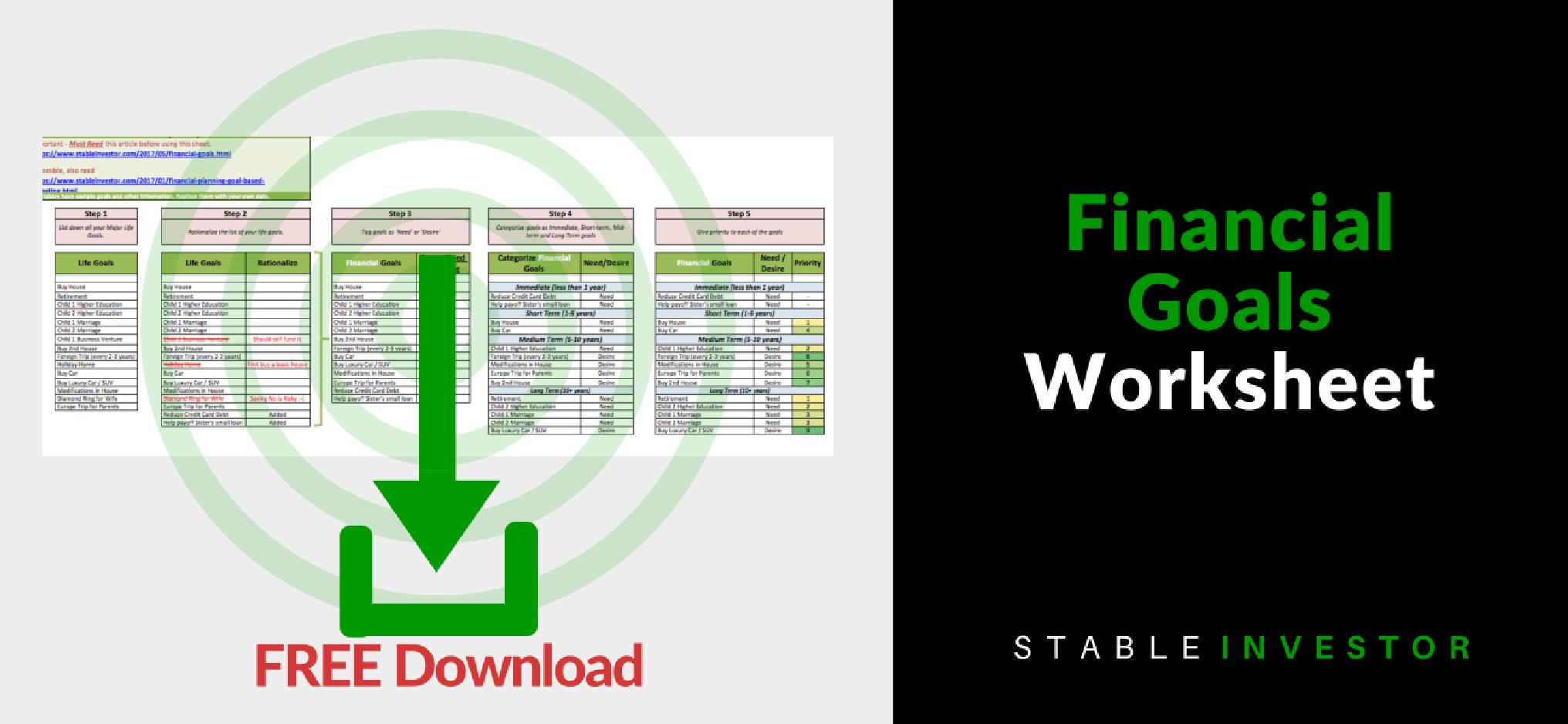 FREE Download Financial Goal Planning Excel Worksheet Stable Investor
