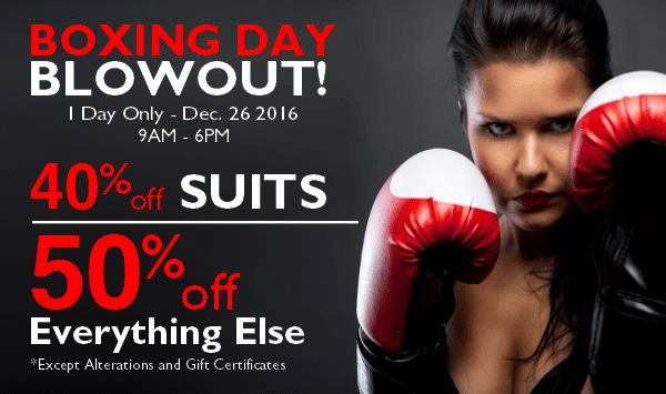 2016 Boxing Day Sale Staccato Menswear Vancouver