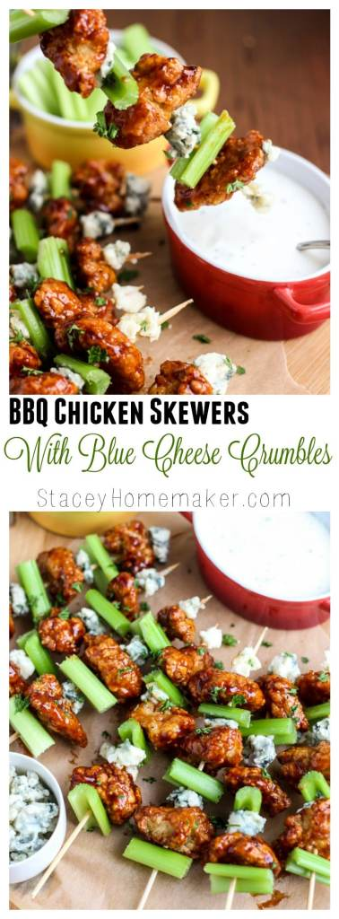 BBQ chicken skewers with blue cheese crumbles