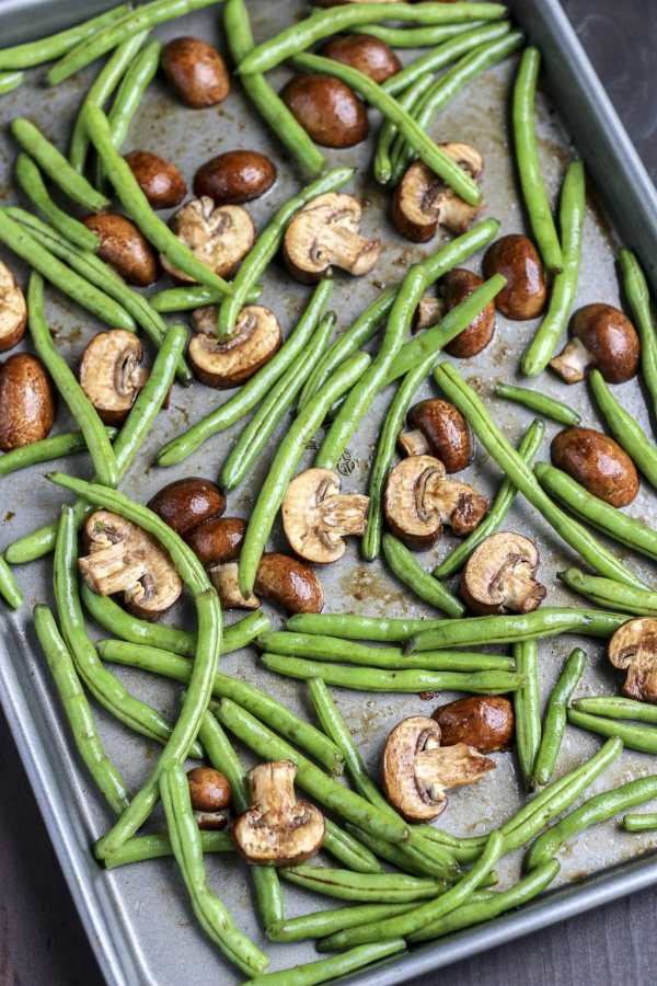 green beans and mushrooms coated in balsamic