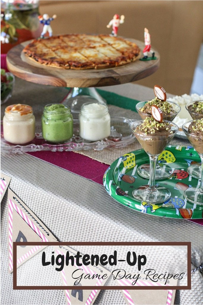 Easy game day football party tips! Healthy dipping sauce and skinny desserts! DIY party decor inspiration!