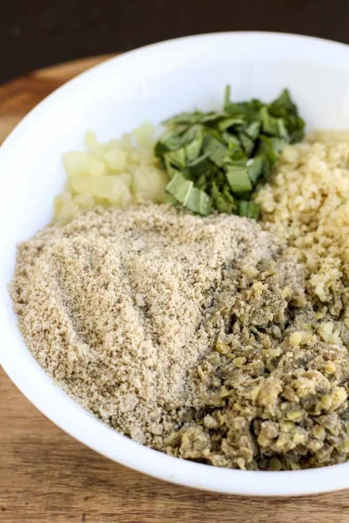 italian lentil quinoa balls mixture 1