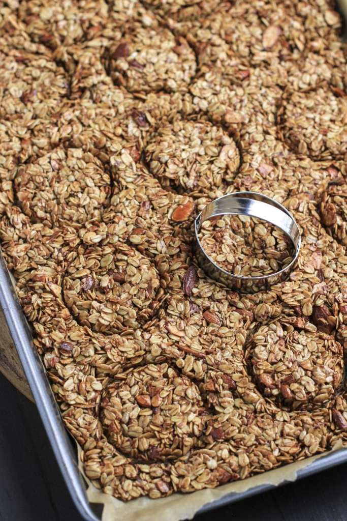 granola bars cut into nests