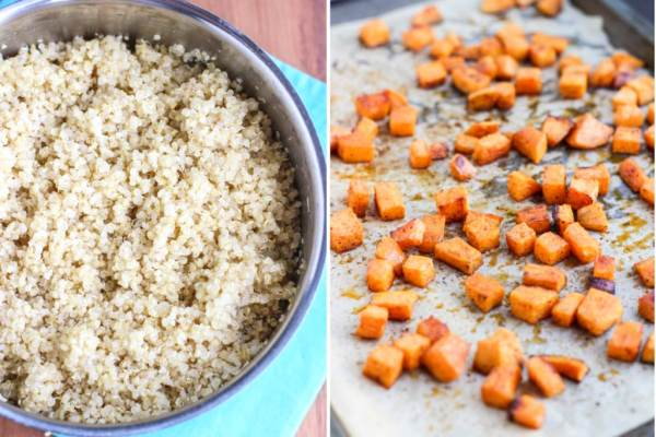 A bowl of cooked fluffy quinoa and a tray of roasted diced sweet potatoes.