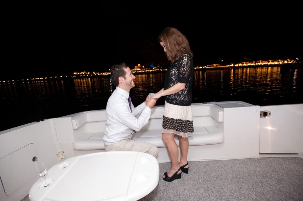 We had dinner at Citricos at the Grand Floridian Hotel, then took a firework cruise around the seven seas lagoon & got engaged!