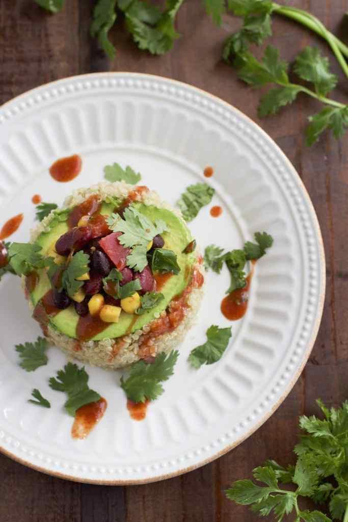 spicy avocado quinoa stack