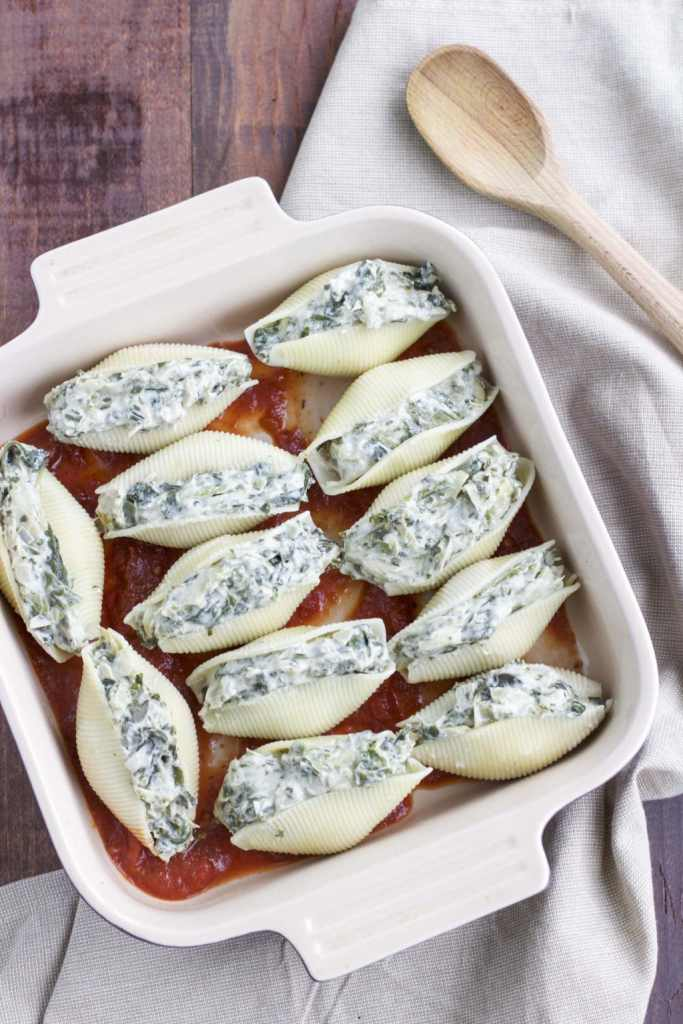 Dairy-free spinach artichoke stuffed shells