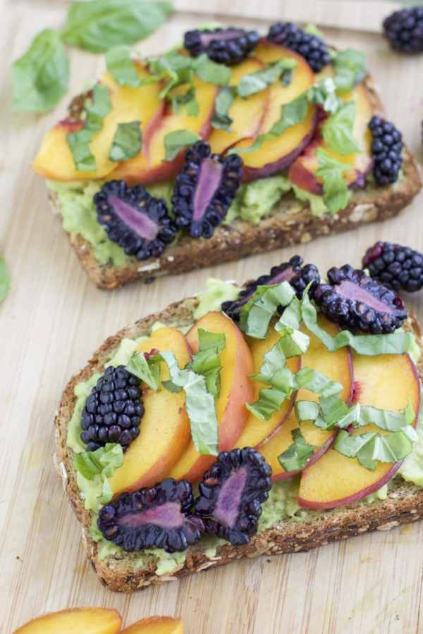 Peach Blackberry Basil avocado toast
