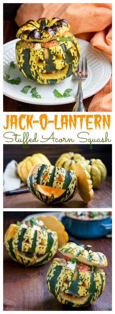 Roasted stuffed acorn squash with jack-o-lantern faces are perfect for Halloween!