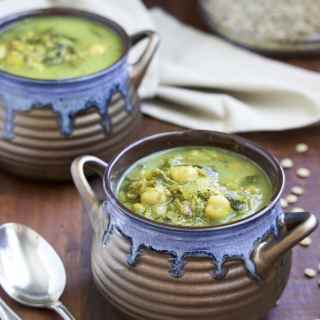 This creamy coconut lentil chickpea spinach soup has been in my recipe rotation for years! Vegetarian, dairy-free, gluten-free.