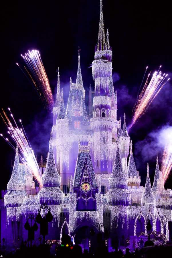 Cinderella Castle shooting off fireworks during the Disney World Christmas party.