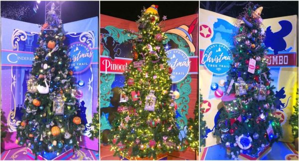 Assorted decorated Christmas trees at the Disney Springs Tree Trail.