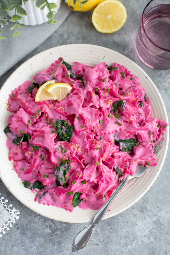Vegan beet pasta sauce is the perfect bright pink meal for Valentine's Day, a light Spring or Summer meal. Crumble cashew cheese or goat cheese over the top to make it extra decadent! Dairy-free.