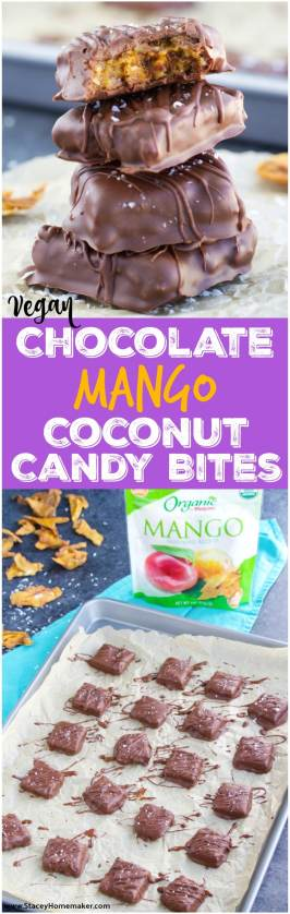 These seriously addicting vegan chocolate mango coconut candy bites have only 6 healthy ingredients and are so simple to make! Vegan.