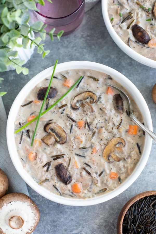 This veganized version of creamy chicken wild rice soup is so cozy and comforting, it's exactly what you want to eat on a chilly winter night! Vegan, gluten-free.