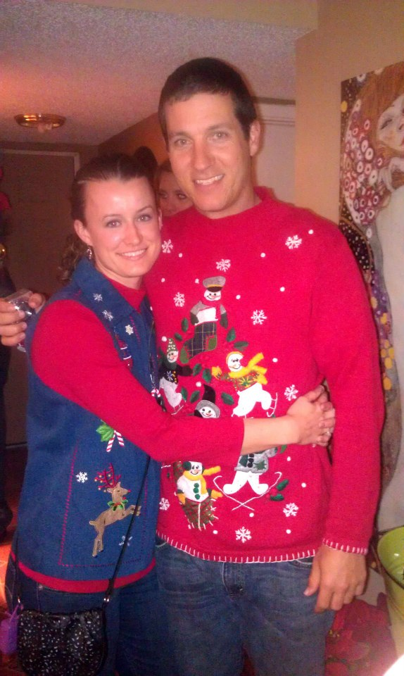 travis i at an ugly christmas sweater party when we were first dating - He Man Christmas Sweater