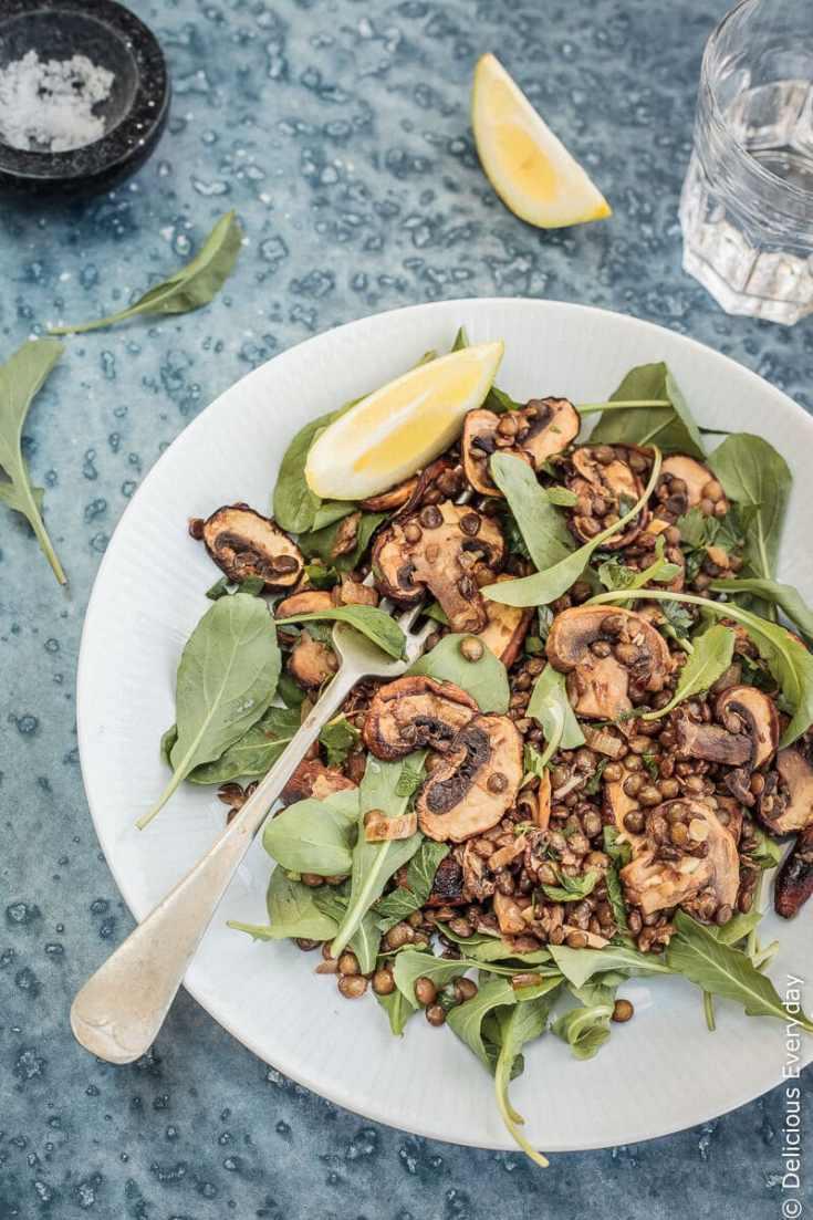 Mushroom, Lemon and Lentil Salad {vegan}