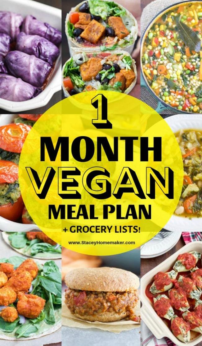 1 Month Vegan Meal Plan + Printable Vegan Grocery List PDF