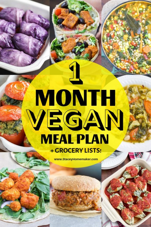 """A photo collage with the title, """"1 Month Vegan Meal Plan + Grocery Lists!"""""""