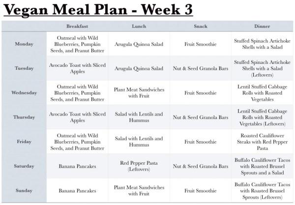 Vegan Meal Plan - Week 3