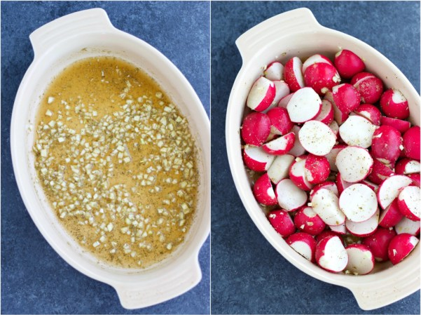 A collage of pictures showing how to roast radishes in a casserole dish in a few easy steps on a textured background.