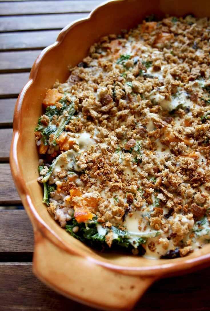 Sweet Potato Casserole with Black Beans, Kale and Buckwheat • Happy Kitchen