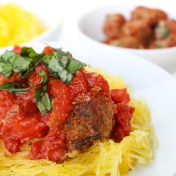 Healthy Meatballs Over Spaghetti Squash | by Stacey Mattinson