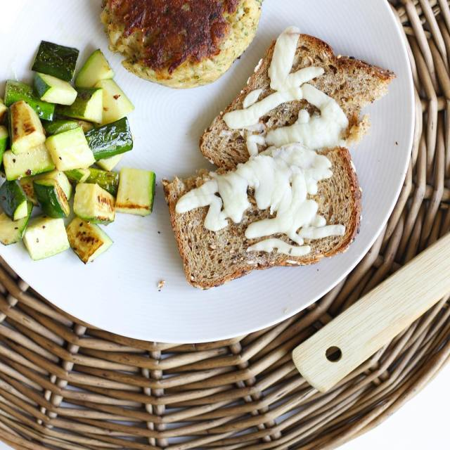 A crab cake sauted zucchini squash and daveskillerbread walked intohellip