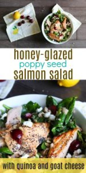 Honey-Glazed Poppy Seed Salmon Salad Healthy Salmon Salad by Stacey Mattinson, MS, RDN, LD