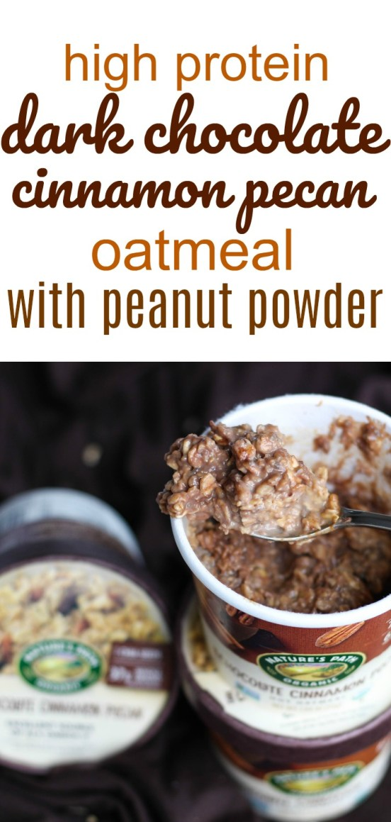 Looking for a REALLY easy, vegetarian, high protein breakfast option? Try this delicious dark chocolate cinnamon pecan oatmeal ready in two minutes or less!