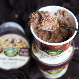 High Protein Dark Chocolate Cinnamon Pecan Oatmeal with Peanut Powder by Stacey Mattinson, MS, RDN, LD