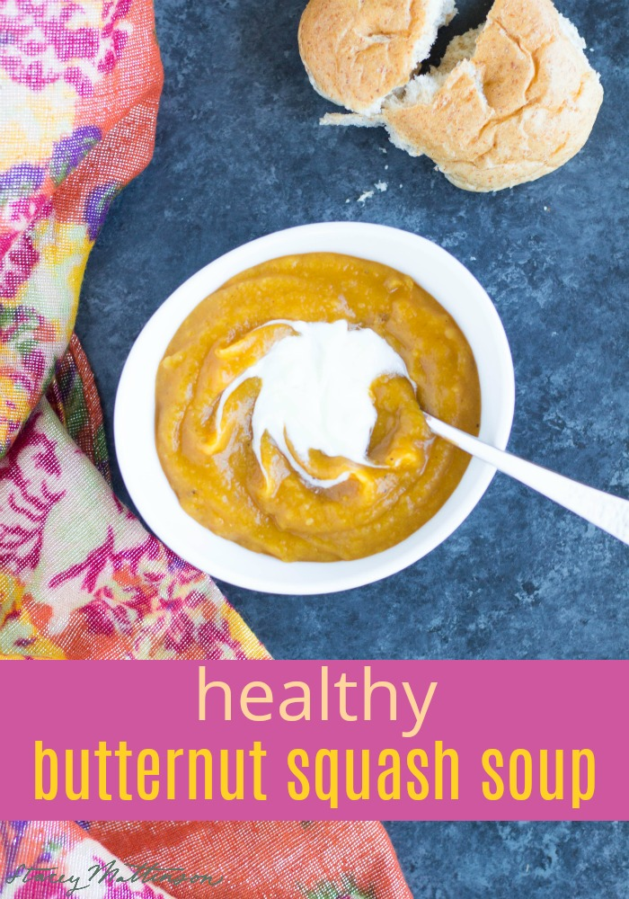 Try this flavorful, creamy healthy butternut squash soup (no cream needed!). Perfect for winter! | Butternut Squash Soup by Stacey Mattinson Nutrition