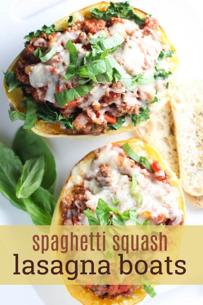 Best spaghetti squash lasagna boats for a big group or the yummiest leftovers! You'll definitely be dipping up seconds of this healthy dish! | Spaghetti Squash Lasagna Boats by Stacey Mattinson Nutrition