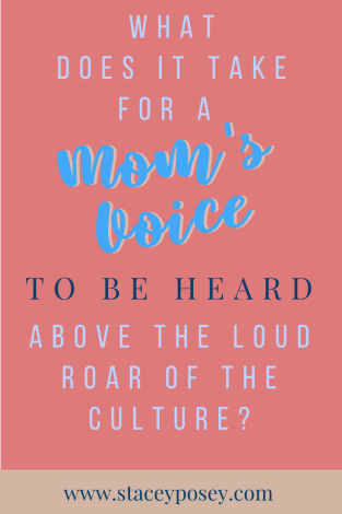 What does it take for a Mom's voice to be heard above the load roar of the culture today?