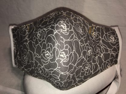 Large Face Mask (Ver 1) - Gray Floral | Stacey Sansom Designs