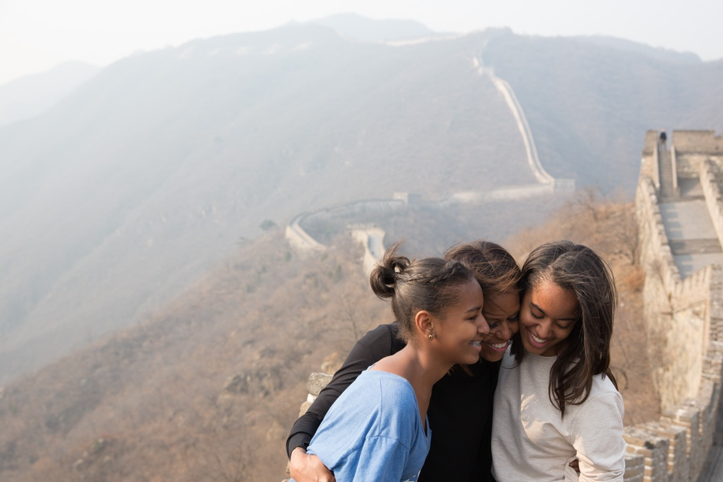 First Lady Michelle Obama and Malia and Sasha visit the Great Wall of China. March 22, 2014. (Official White House Photo by Amanda Lucidon)