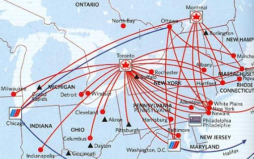 Air Canada flight map