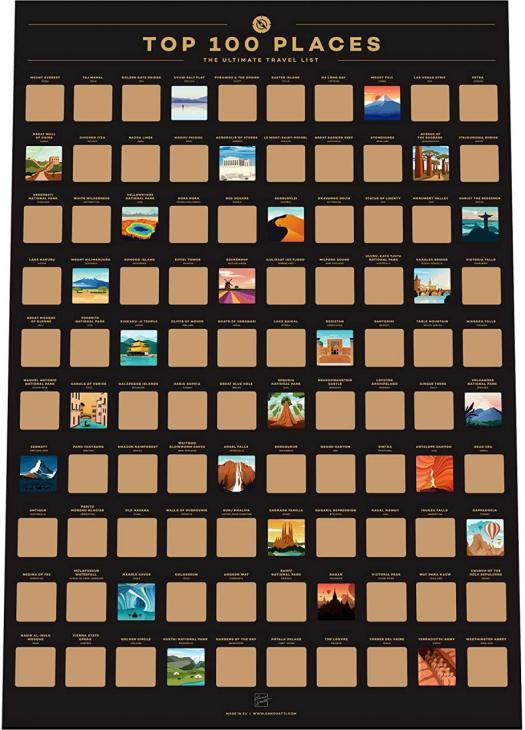 100 Places Scratch Off Poster