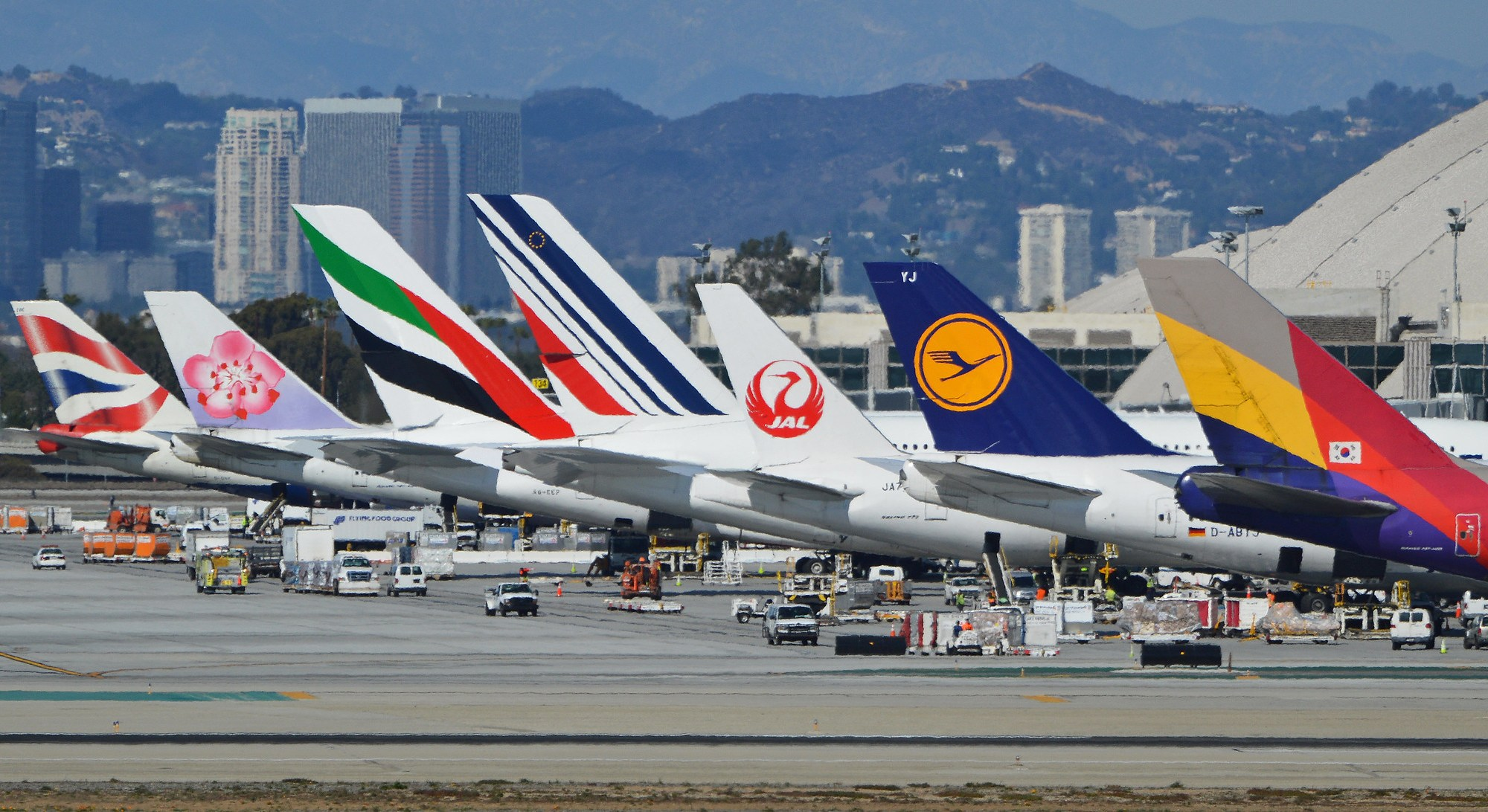 airplanes lined up at the airport