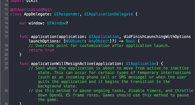 Screencap of a tiny bit of AppDelegate, generated by Xcode