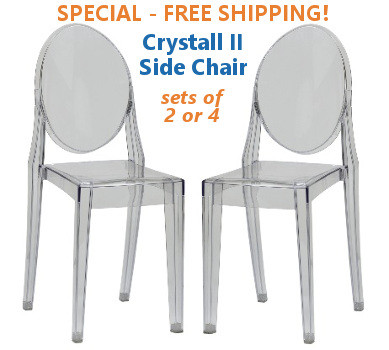 Clear Stackable Side Chairs Clear and Black
