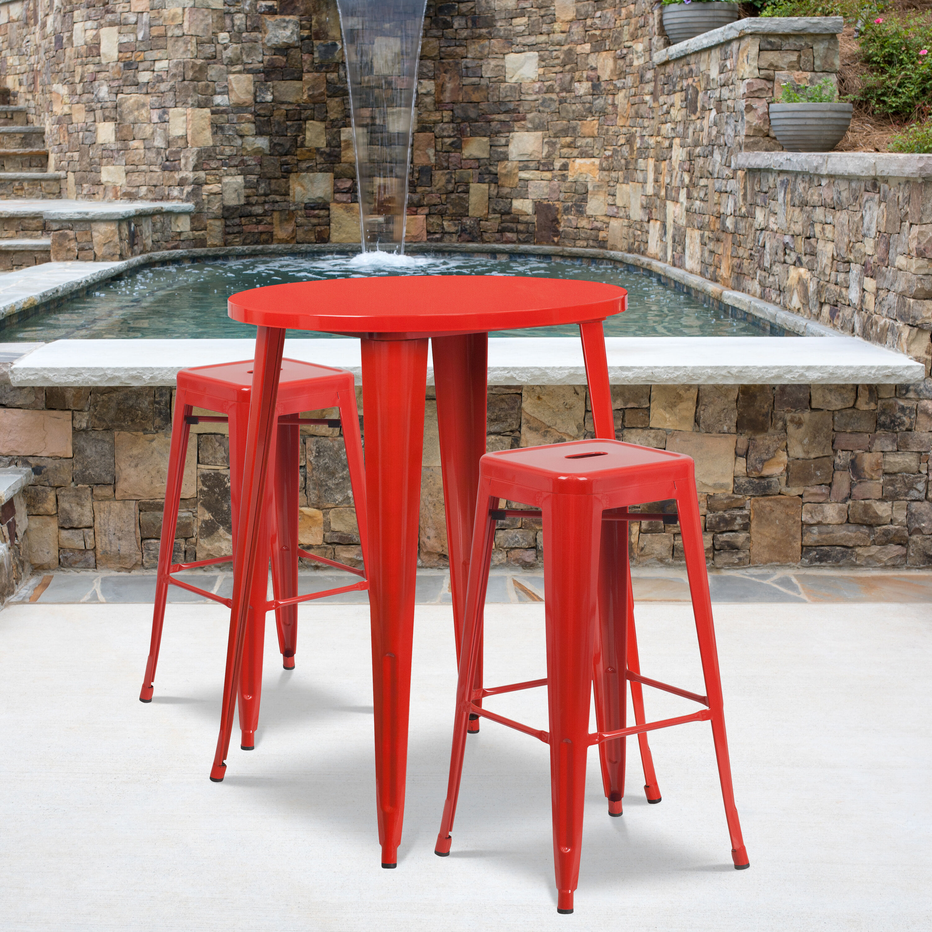 commercial grade 30 round red metal indoor outdoor bar table set with 2 square seat backless stools