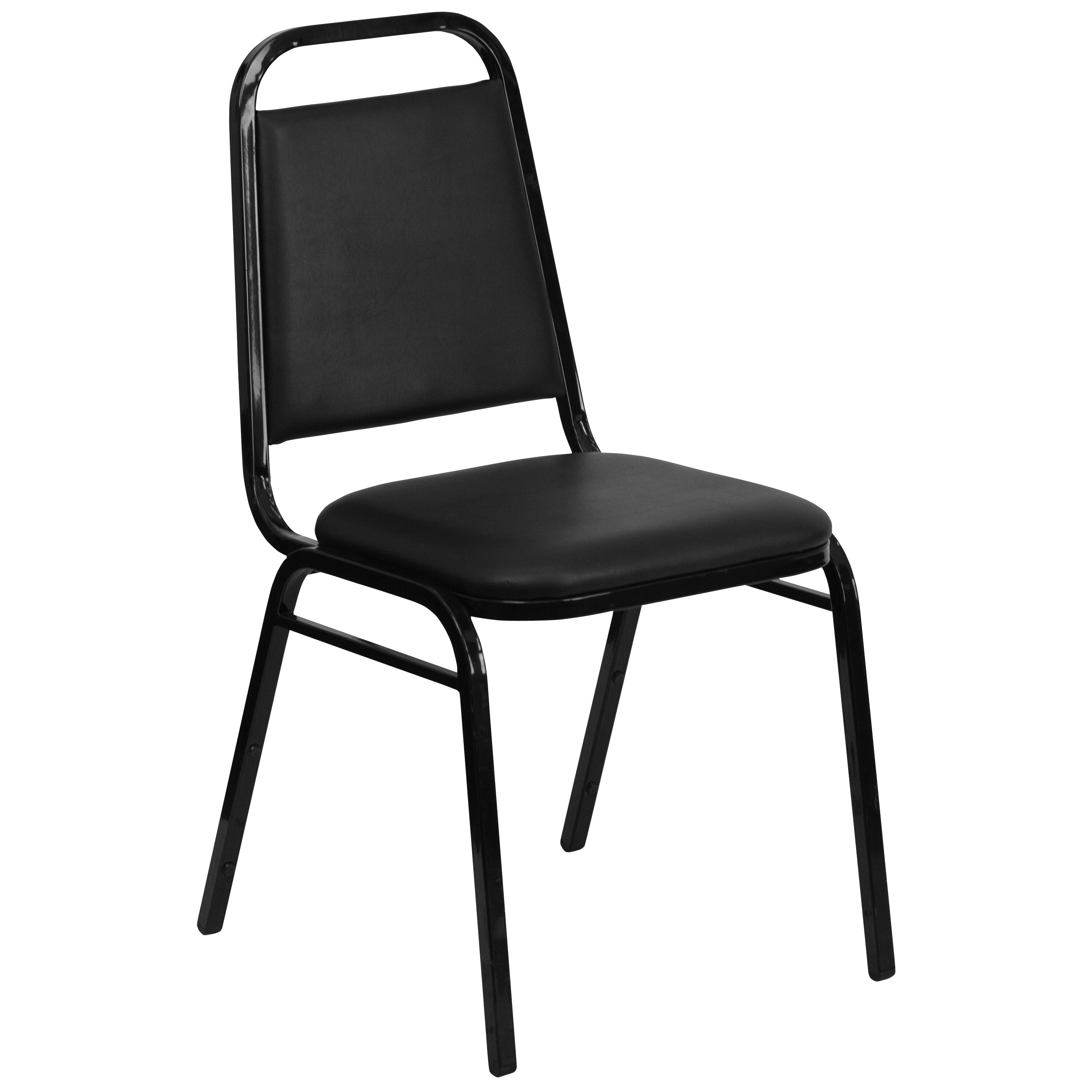 Hercules Series Trapezoidal Back Stacking Banquet Chair In Black Vinyl Black Frame