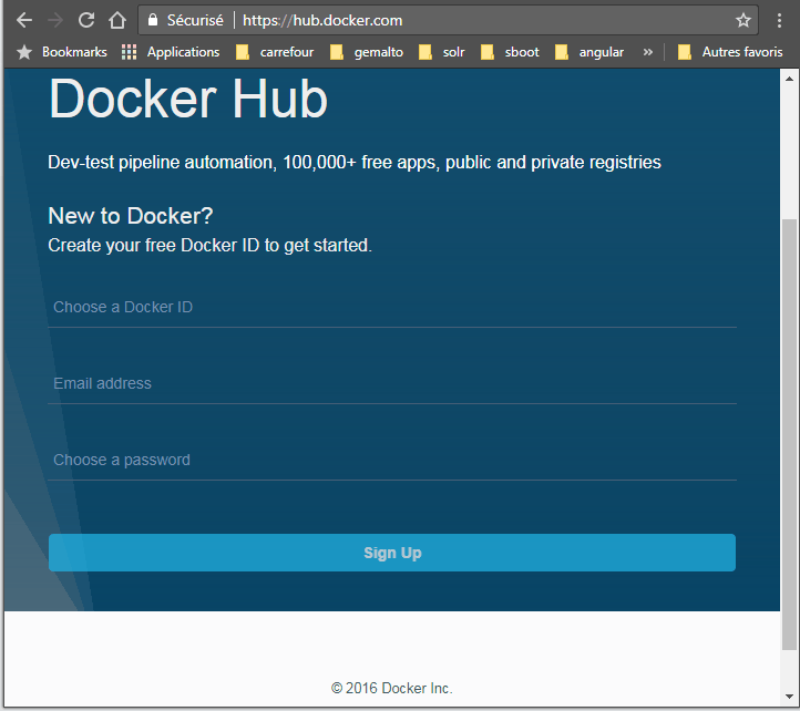 Docker hub create account