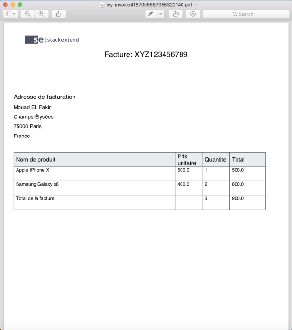 Generated invoice pdf using JasperReports
