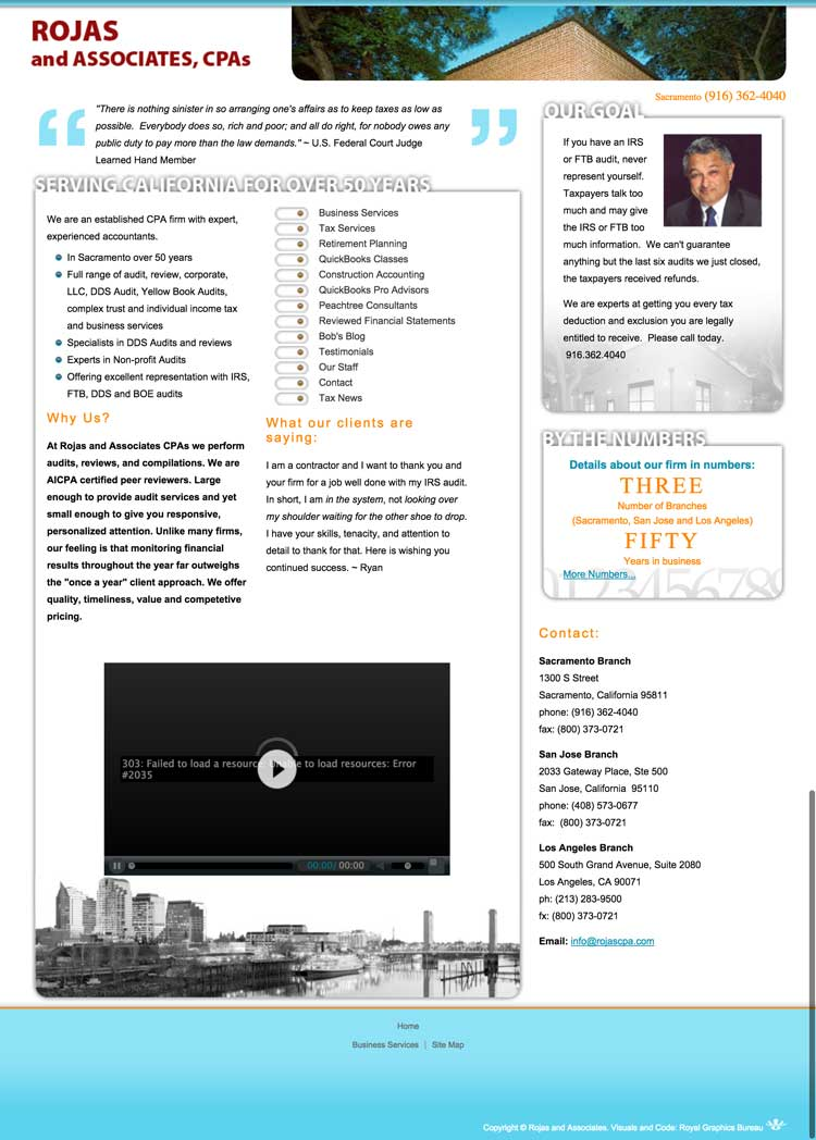 rojas cpa old home page before redesign