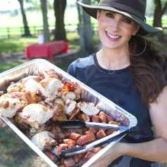 Stacy Lyn at the dove hunt with chicken roast and smokd meats