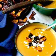 Stacy Lyn's creamy sweet potato soup with goat cheese and fried sweet potatoes